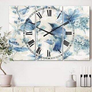 Designart 'Indigold Bird Cottage Family I' Cottage 3 Panels Large Wall CLock - 36 in. wide x 28 in. high - 3 panels