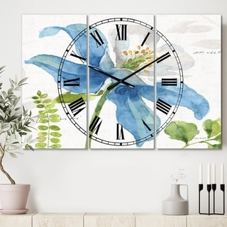 Designart 'Blue Columbine Wild Flower with Ferns' Cottage 3 Panels Oversized Wall CLock - 36 in. wide x 28 in. high - 3 panels