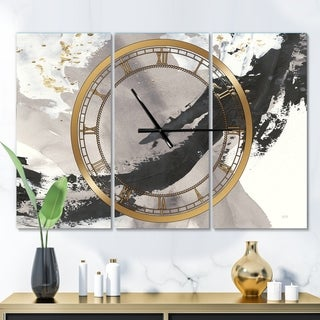 Designart 'Glam Painted Arcs III' Glam 3 Panels Oversized Wall CLock - 36 in. wide x 28 in. high - 3 panels