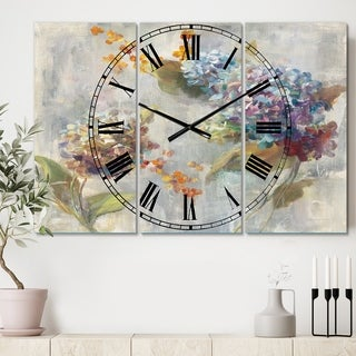 Designart 'Autumn Hydrangea' Cottage 3 Panels Oversized Wall CLock - 36 in. wide x 28 in. high - 3 panels