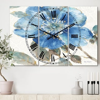 Designart 'Indigold Watercolor Flower I' Cottage 3 Panels Oversized Wall CLock - 36 in. wide x 28 in. high - 3 panels