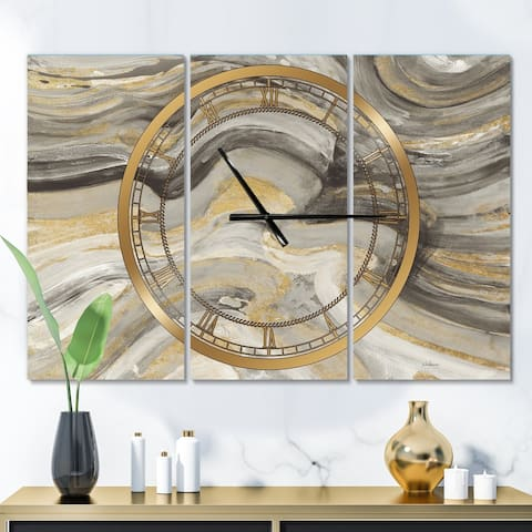 Designart 'Glam Gold Canion' Glam 3 Panels Oversized Wall CLock - 36 in. wide x 28 in. high - 3 panels