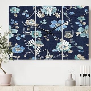 Designart 'Indigold metallic Flower Pattern' Cottage 3 Panels Oversized Wall CLock - 36 in. wide x 28 in. high - 3 panels
