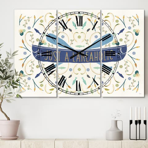 Designart 'Just a Lakeaholic' Cottage 3 Panels Large Wall CLock - 36 in. wide x 28 in. high - 3 panels