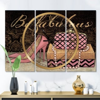 Designart 'Gold Fabulous Life Style III' Glam 3 Panels Oversized Wall CLock - 36 in. wide x 28 in. high - 3 panels