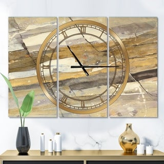Designart 'Fire and Ice Minerals V' Glam 3 Panels Large Wall CLock - 36 in. wide x 28 in. high - 3 panels