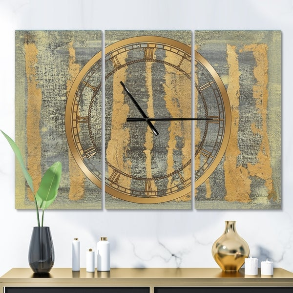 Designart 'Glam Metallic Form IV' Glam 3 Panels Oversized Wall CLock - 36 in. wide x 28 in. high - 3 panels