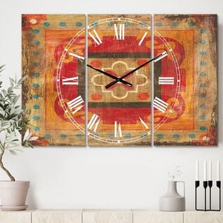 Designart 'Moroccan Orange Tiles Collage II' Cottage 3 Panels Oversized Wall CLock - 36 in. wide x 28 in. high - 3 panels