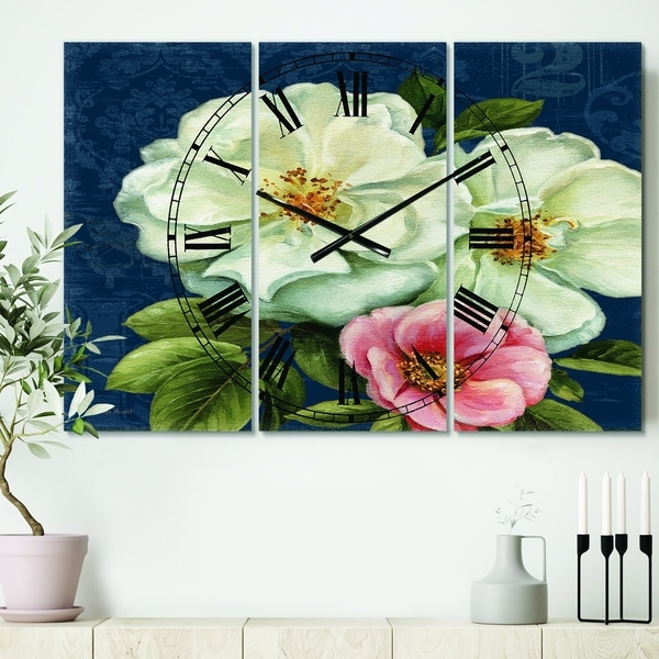 Designart 'Blue Damask Flowers' Cottage 3 Panels Oversized Wall CLock - 36 in. wide x 28 in. high - 3 panels