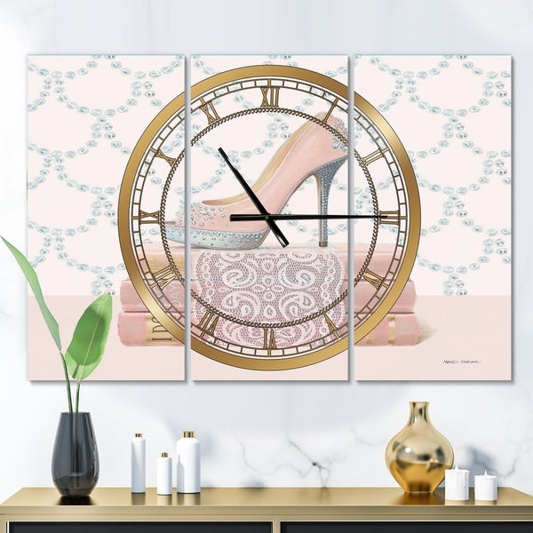 Designart 'Fashion and Glam Shoes II' Glam 3 Panels Oversized Wall CLock - 36 in. wide x 28 in. high - 3 panels