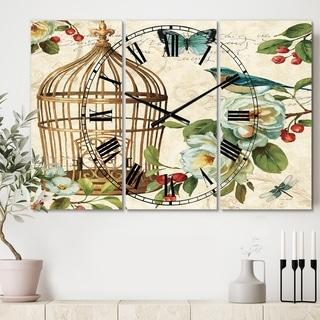 Designart 'Blue Cottage Bird, Birdcage and Apple Blossoms I' Cottage 3 Panels Oversized Wall CLock