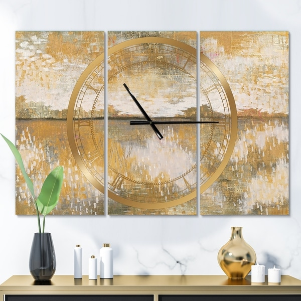 Designart 'Glam Cream and Brown Curious Sky' Glam 3 Panels Large Wall CLock - 36 in. wide x 28 in. high - 3 panels