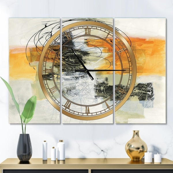 Designart 'Abstract Composition of Glamorous Yellow and Black' Glam 3 Panels Oversized Wall CLock