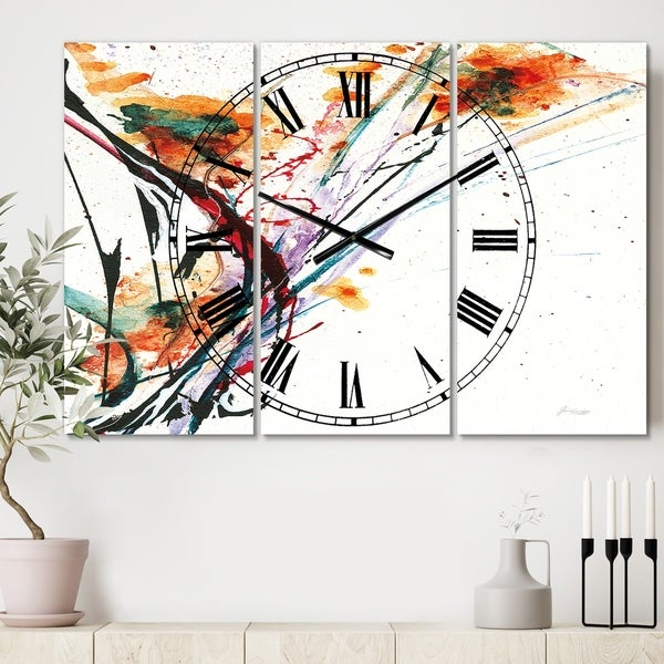 Designart 'Abstract Orange Flowers' Cottage 3 Panels Oversized Wall CLock - 36 in. wide x 28 in. high - 3 panels
