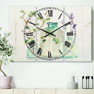 Designart 'Blossoms on Birch Cottage Bouquet IV' Cottage 3 Panels Large Wall CLock - 36 in. wide x 28 in. high - 3 panels