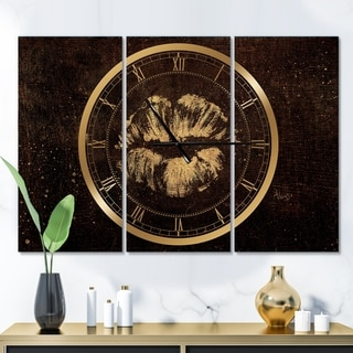 Designart 'Gold Fashions Lips' Glam 3 Panels Oversized Wall CLock - 36 in. wide x 28 in. high - 3 panels
