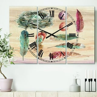 Designart 'Feathers Cottage Family' Cottage 3 Panels Large Wall CLock - 36 in. wide x 28 in. high - 3 panels