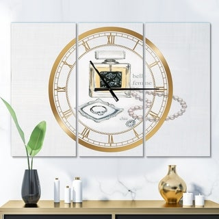 Designart 'Perfume Glam Bathroom I' Glam 3 Panels Oversized Wall CLock - 36 in. wide x 28 in. high - 3 panels