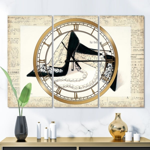 Designart 'Chic Galm Closet I' Glam 3 Panels Oversized Wall CLock - 36 in. wide x 28 in. high - 3 panels