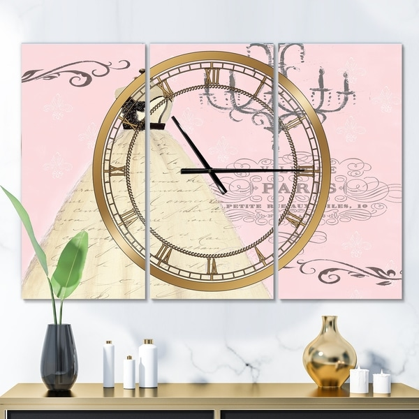 Designart 'French chandeliers Couture II' Glam 3 Panels Oversized Wall CLock - 36 in. wide x 28 in. high - 3 panels