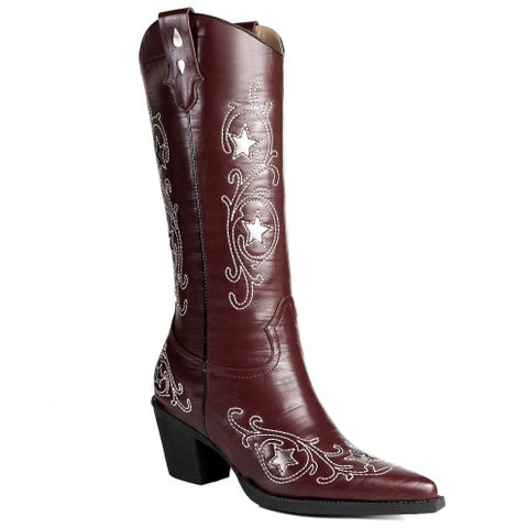 Ann Creek Women's 'Rincon' Stiches Patterned Western Boots