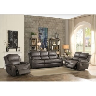 Kocani 3 Piece Motion Sofa Set Upholstered in Gray Polished Microfiber