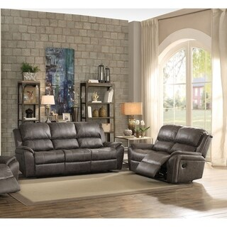 Prilep Motion Sofa & Loveseat Upholstered in Gray Polished Microfiber