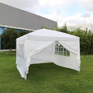 Kinbor 10' x 10' Wedding Party Tent Outdoor Gazebo Canopy w/ 4 Removable Sidewalls