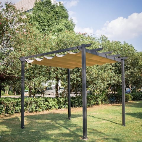 Kinbor Garden Gazebo Pergola Trellis Outdoor Retractable Shade Canopy