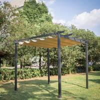 Kinbor Garden Gazebo Pergola Trellis Outdoor Retractable Shade Canopy