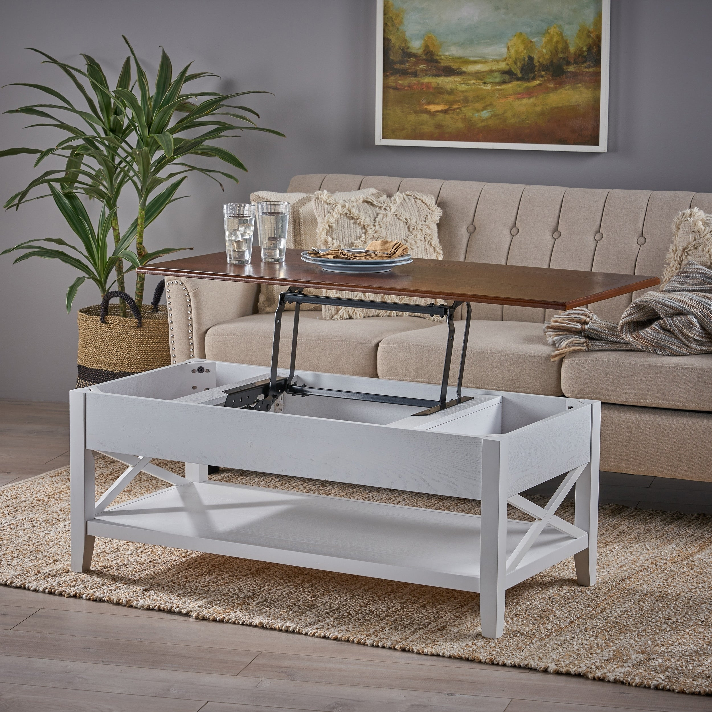 - Shop Decatur Farmhouse Faux Wood Lift Top Coffee Table By