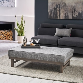 Hillman Modern Fabric Cocktail Ottoman with Wood Frame by Christopher Knight Home