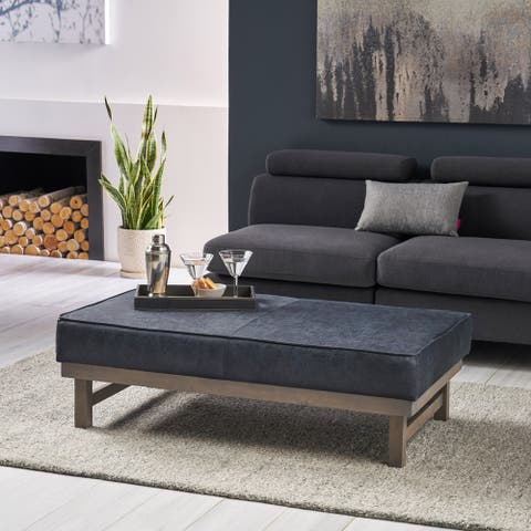 Hillman Modern Microfiber Cocktail Ottoman with Wood Frame by Christopher Knight Home