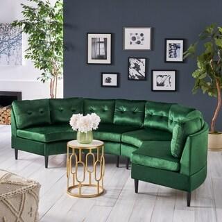 Jazmine Glam 4 Seater Modular Velvet Sectional by Christopher Knight Home