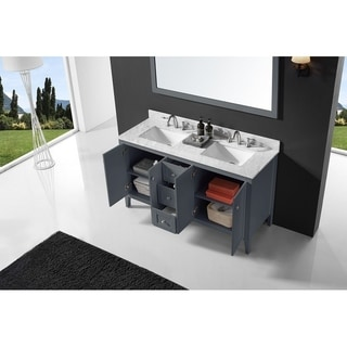 Exclusive Heritage York Collection Cashmere Grey Double Sink Bathroom Vanity with White Carrara Marble Top