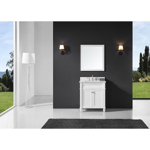 """Exclusive Heritage 30"""" Single Sink Bathroom Vanity in White with Carrara White Marble Top and from the Margaux Collection"""