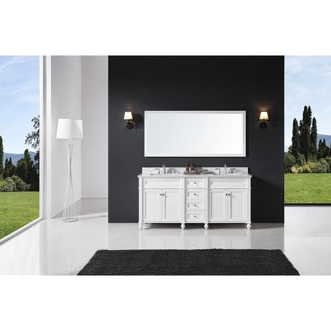 """Exclusive Heritage 72"""" Double Sink Bathroom Vanity in White with Carrara White Marble Top and from the Margaux Collection"""