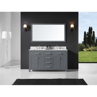 Exclusive Heritage Grey Wood and Marble 60-inch Double-sink Bathroom Vanity and Mirror Set
