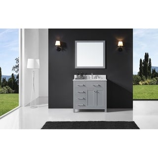 """Exclusive Heritage 36"""" Single Sink Bathroom Vanity in Taupe Grey with Carrara White Marble Top and Mirror Set"""