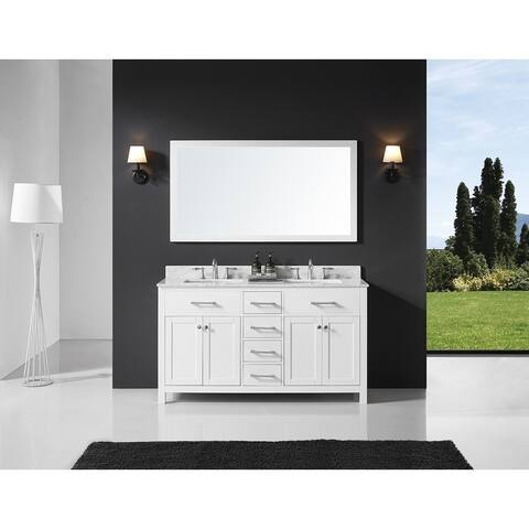 """Exclusive Heritage 60"""" Double Sink Bathroom Vanity in White with Carrara White Marble Top and Mirror Set"""