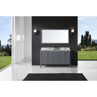 Exclusive Heritage Cashmere Grey Double-sink Bathroom Vanity with Mirror and Carrara White Marble Top