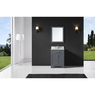 "Exclusive Heritage 24"" Single Sink Bathroom Vanity in Cashmere Grey with Carrara White Marble Top and Mirror Set"