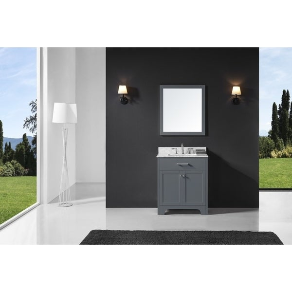 "Exclusive Heritage 30"" Single Sink Bathroom Vanity in Cashmere Grey with Carrara White Marble Top and Mirror Set"