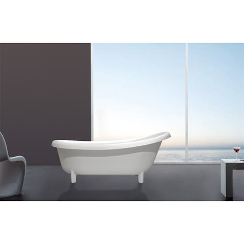 "Valencia 71"" Freestanding Solid Surface Clawfoot Bathtub - 71"" x 31.5"" x 24.5"""