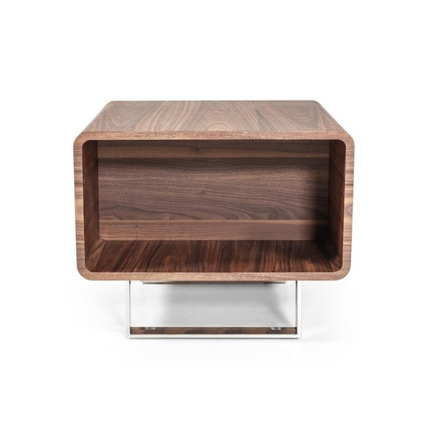 Brown Wood and Stainless Steel End Table with One Shelf