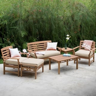 Link to Goodwin 6-piece Teak Patio Conversation Set by Havenside Home Similar Items in Outdoor Loveseat