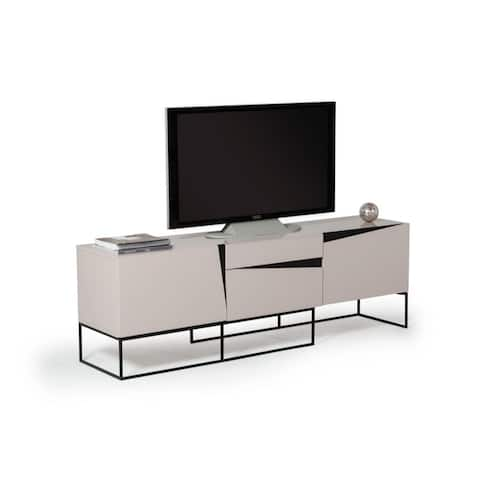 Two Drawers Wooden TV Stand with Metal Base, Gray and Black