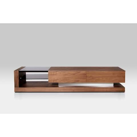 Rectangular Wooden TV Stand with Two Spacious Drawers, Brown and Black