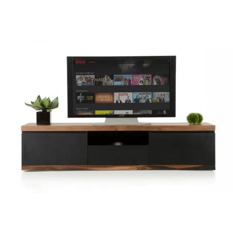 Wooden TV Stand with Three Drawers and Electrical Wire Hole, Brown and Black