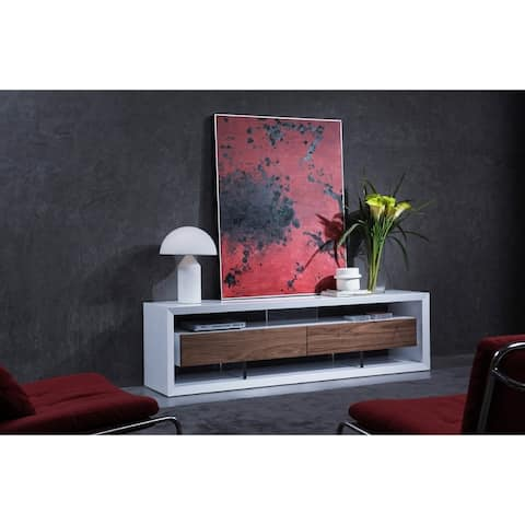 Contemporary Style Wooden TV Stand with Two Drawers and Acrylic Support, White and Brown